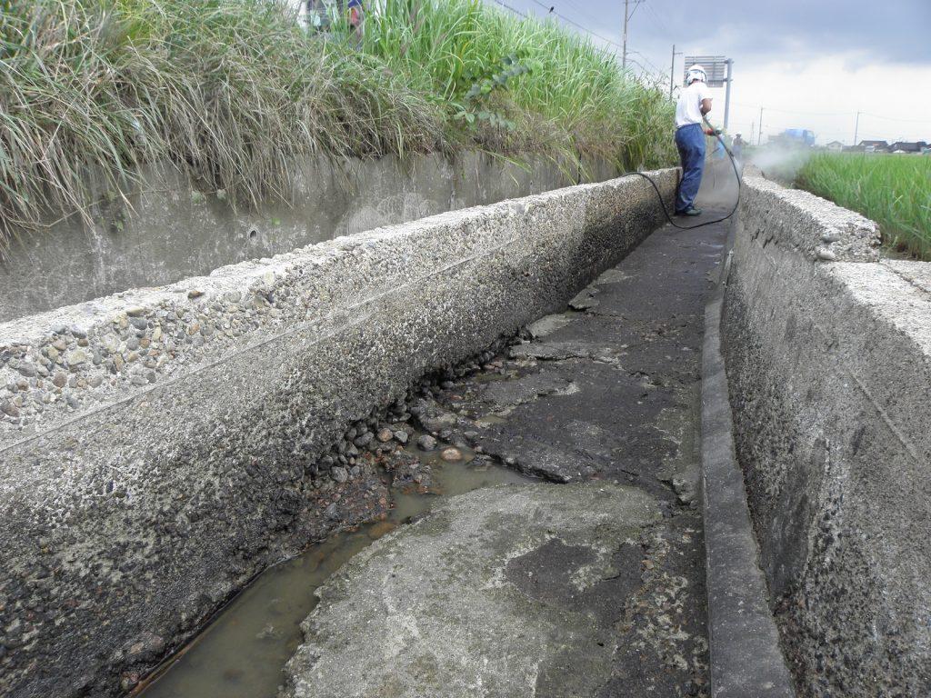 表面被覆工事、ガイメックモルタル工法(富山県高岡市)